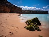 Beautiful View On Beach Near Sagres At The Atlantic Ocean Portugal Europe. The Coastline Is Used By  poster