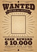Wanted Vintage Western Poster. Dead Or Alive Crime Outlaw. Wanted For Reward Retro Banner poster