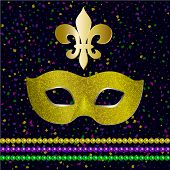 Mardi Gras Party. Carnival Mask With Shiny Glitter Texture. Venetian Carnival Mardi Gras Party.  Vec poster