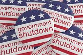Usa Politics News Badges: Pile Of Government Shutdown Buttons With Us Flag, 3d Illustration poster