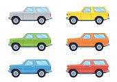 Off-road 4x4 Suv Car. Side View Offroad Car In Different Colors. Flat Style. Vector Illustration. poster