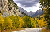 Scenic drive in Rocky mountains in Colorado