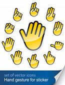 gesture hand for sticker vector illustration isolated on white background