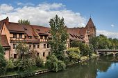 View Of Pegnitz River Bank In Nuremberg, Germany