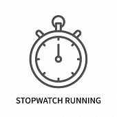 Stopwatch Running Icon Isolated On White Background. Stopwatch Running Icon Simple Sign. Stopwatch R poster