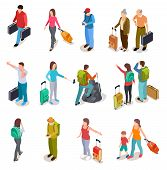 Travel People Isometric Set. Men, Women And Kids With Luggage. Tourist Family, Passengers And Baggag poster