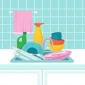 Kitchen Sink With Dirty Plates. Pile Of Dirty Dishes, Glasses And Wash Sponge. Vector Illustration.  poster