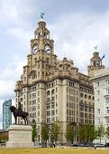 The Royal Liver Building on the Pierhead at Liverpool, statue of Edward Vii in foreground