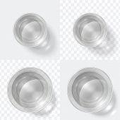 Top View Glass. Clear Shot Of Vodka Or Water, Glass Cup Isolated On White And Transparent Background poster