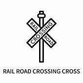 Rail Road Crossing Cross Icon Isolated On White Background. Rail Road Crossing Cross Icon Simple Sig poster