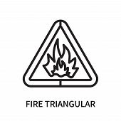 Fire Triangular Icon Isolated On White Background. Fire Triangular Icon Simple Sign. Fire Triangular poster