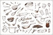 Hand Drawn Kitchenware Vector Icons Set. Sketch Of Isolated Kitchen Tools And Elements Of Cooking Fo poster
