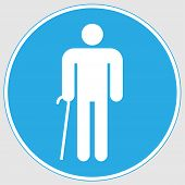 Mandatory Sign: door For The Disabled Sign. Door For The Disabled Sign Mandatory Sign On A Gray Ba poster