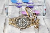 Wrist Watch And Wristband. Wrist Watch With And Bracelet Jewelry. poster
