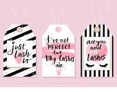 Vector Fashion Tags With Lashes Quotes. Calligraphy Phrase For Lash Makers poster