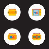 Set Of Website Development Icons Flat Style Symbols With Website Image, Website Text, Website Slider poster