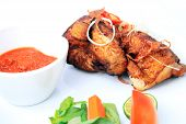 stock photo of ayam  - Javanese fried chicken named ayam kalasan from indonesia - JPG