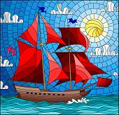 Illustration In Stained Glass Style With An Old Ship Sailing With Red Sails Against The Sea, Sun And poster