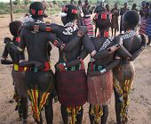 Women dancers of Ethiopia's hamer Tribe