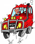 pic of four-wheel drive  - Man driving a red four wheel drive on a very bumpy road - JPG