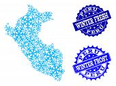 Snow Map Of Peru And Distress Stamp Seals In Blue Colors With Winter Fresh And Winter Frost Captions poster