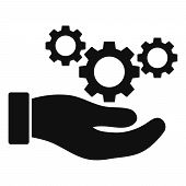 Cogs Service Hand Vector Icon On A White Background. An Isolated Flat Icon Illustration Of Cogs Serv poster