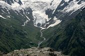 stock photo of firn  - Waterfalls and glaciers and green valleys - JPG