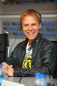 MOSCOW - MAY 6: Popular Dutch DJ Armin Van Buren smiles at a press conferences on May 6, 2011 in Mos