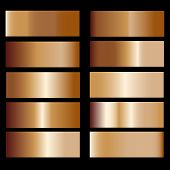 Bronze Gradient. Collection Of Colorful Gradients With  Glossy Metal Texture For Design Of Covers, B poster