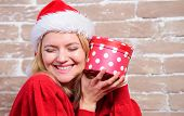 All I Want For Christmas. Woman Excited Opening Gift From Santa Claus. Christmas Eve Excitement. Ope poster