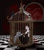 Zodiac Series - Scorpio As A Gothic Girl In A Cage With Scorpions All Around - 3d Illustration poster
