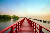 Long Red Bridge Sunlight Sky Tree At Beach Sea,red Bridge Samut Sakhon Thailand poster