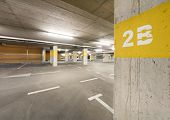 stock photo of parking lot  - Empty underground  parking lot area - JPG