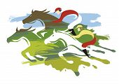 Horse Racing, Three Horses Full Speed. Expressive Colorful Illustration Of Horse Racing. Isolated On poster