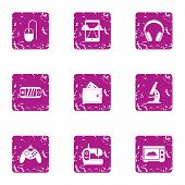 Play Mechanics Icons Set. Grunge Set Of 9 Play Mechanics Icons For Web Isolated On White Background poster