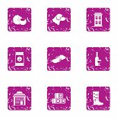 Private Yard Icons Set. Grunge Set Of 9 Private Yard Icons For Web Isolated On White Background poster