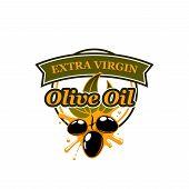 Olive Oil Colorful Vector Sign. Olive Oil Extra Virgin Creative Emblem For Oil Producer Business. Ve poster