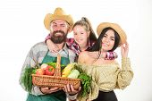Family Farmers Gardeners Vegetables Harvest Isolated White Background. Family Rustic Farmers Proud O poster