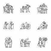 Older Person Recreation Icon Set. Outline Set Of 9 Older Person Recreation Icons For Web Design Isol poster