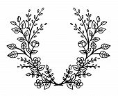 Decorative Frame Composition With, Flowers, Ornate Elements In Doodle Style. Floral, Ornate, Decorat poster