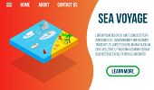 Sea Voyage Concept Banner. Isometric Banner Of Sea Voyage Concept For Web, Giftcard And Postcard poster