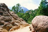 Mountain Trail Through Large Boulders