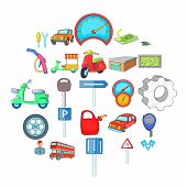 Motor Car Icons Set. Cartoon Set Of 25 Motor Car Icons For Web Isolated On White Background poster