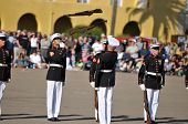 Rifles In The Air - Us Marine Corps Silent Drill Team
