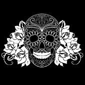 stock photo of sugar skulls  - Skull and roses - JPG