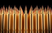 Rifle Bullets Lined In Formation