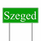 Szeged green road sign