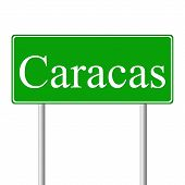 Caracas green road sign