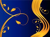 Blue And Gold Floral Background Illustration