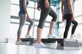 stock photo of step aerobics  - Three women in aerobics class in gym - JPG